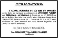 Edital de Convocação LDO-LOA 2016